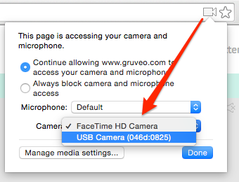 Making Gruveo use a different camera in Chrome