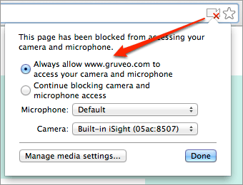 Allowing Gruveo to access camera and microphone in Chrome
