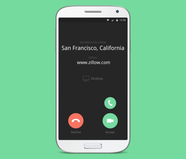 Incoming call in the Gruveo app for Android