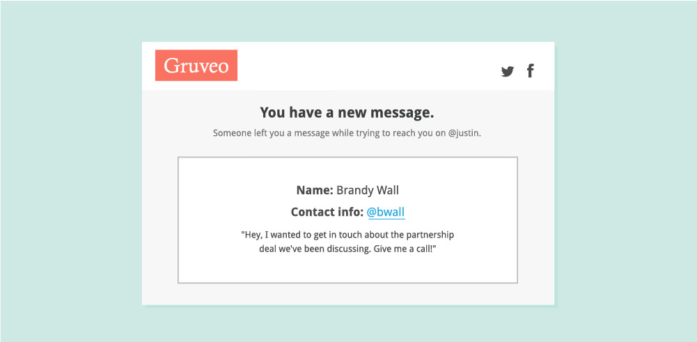 Gruveo Text Mail allows users to leave you a text message if they fail to connect with you on your direct code.