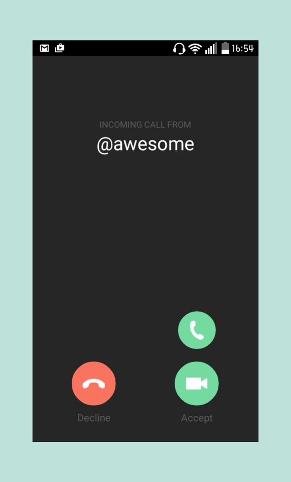 Direct Gruveo Code visible on the incoming call screen