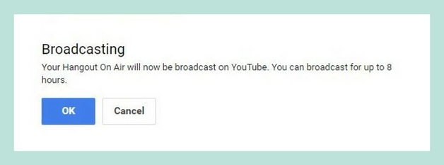 YouTube Live and Google Hangouts on Air before broadcast notification