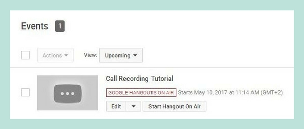 YouTube Live and Google Hangouts on Air call recording