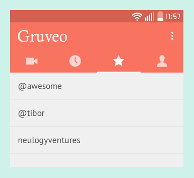 Gruveo Android app new Favorites list