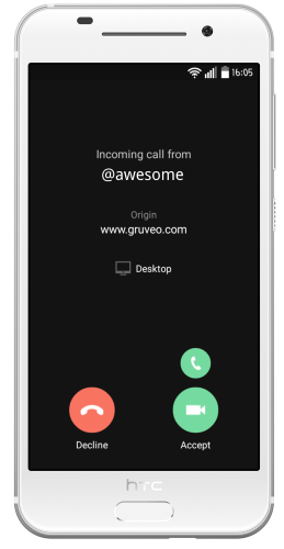 Gruveo handle on other websites - Extended caller context on a Gruveo Pro incoming call - online video conferencing