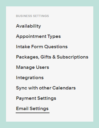 E-mail Settings tab in the Acuity Scheduling profile.
